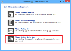 WindowsAppCertificationKit_StartScreen_DesktopAppDeviceHighlighted